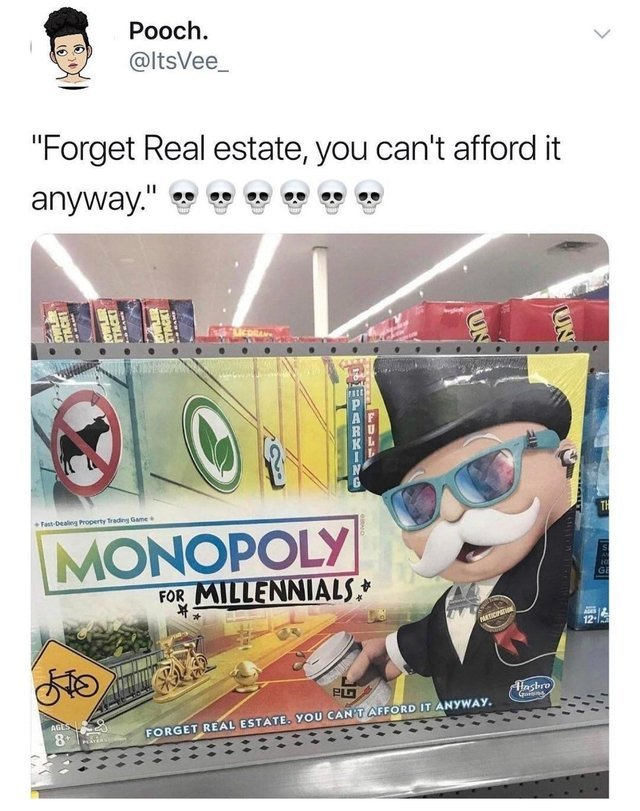 Monopoly for millennials - meme