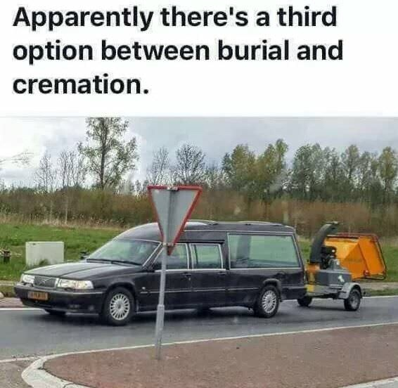 Apparently there's a third option between burial and cremation - meme