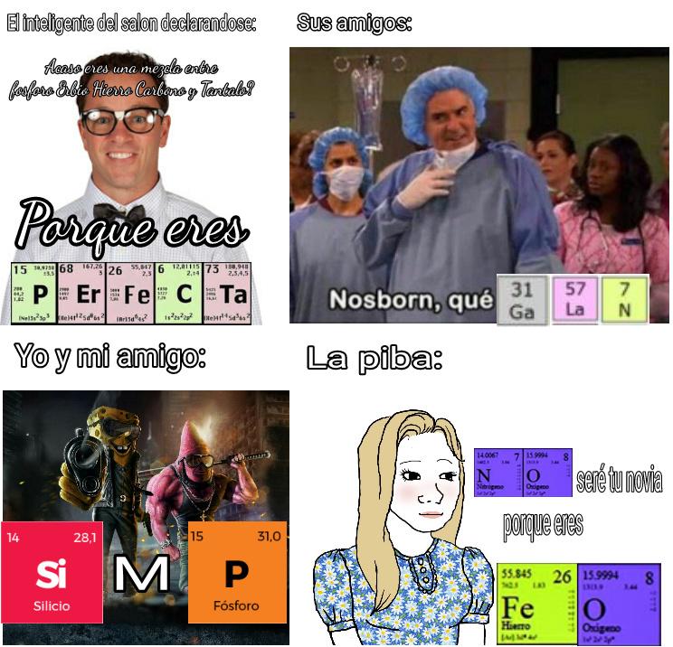 Meme cientifico, solo los químicos entenderán