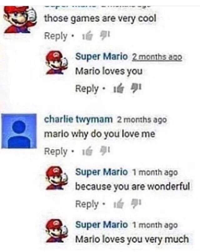 But Mario doesn't love me :'( - meme