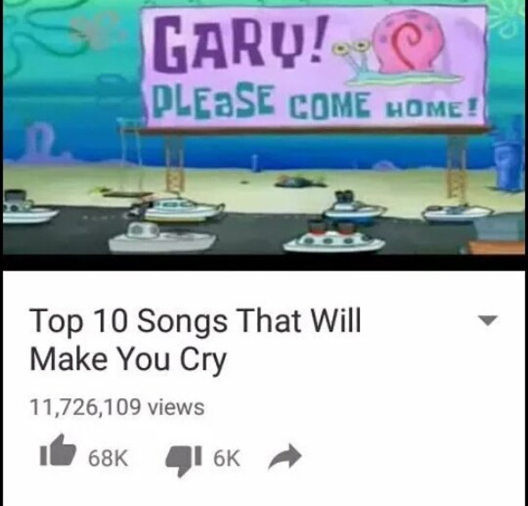 Songs That Will Make You Cry - meme