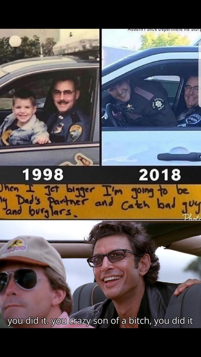 Good guy cop father son duo. Good for them! - meme