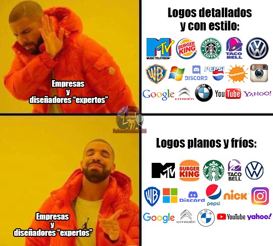 Honestamente los únicos cambios decentes a mi parecer es el de Burger King e Instagram, los demás  - meme