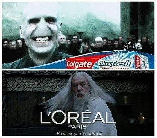 I didn't know voldemort had white teeth - meme