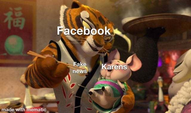 Karens love reading fake news on Facebook - meme