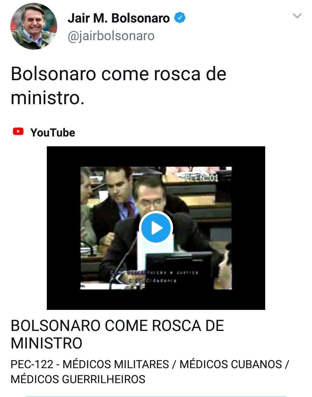 O titulo foi comer a rosca do ministro - meme