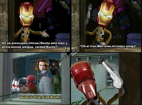 Ese Iron Man y su enemistad con Bucky :'v - meme