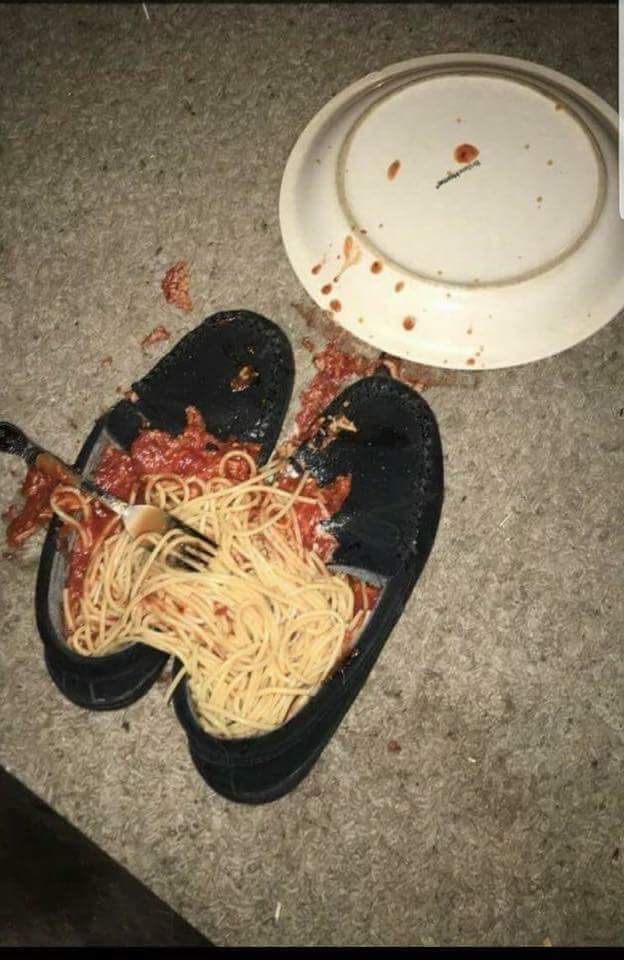 Spaghetti and shoes - meme