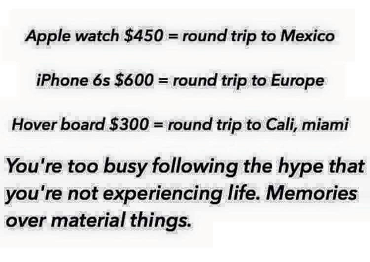 Buy an Apple product or take a vacation - meme