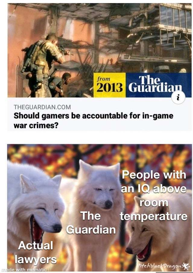 Should gamers be accountable for in-game war crimes? - meme