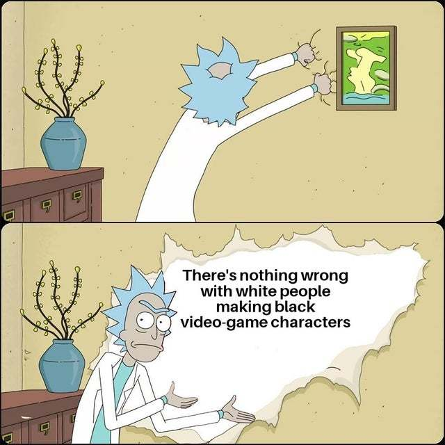 There is nothing wrong with white people making black video game characters - meme