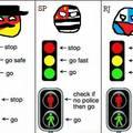 RS vermelho=pare   ,    amarelo=da o cu com cuidado    ,   verde= da o cu