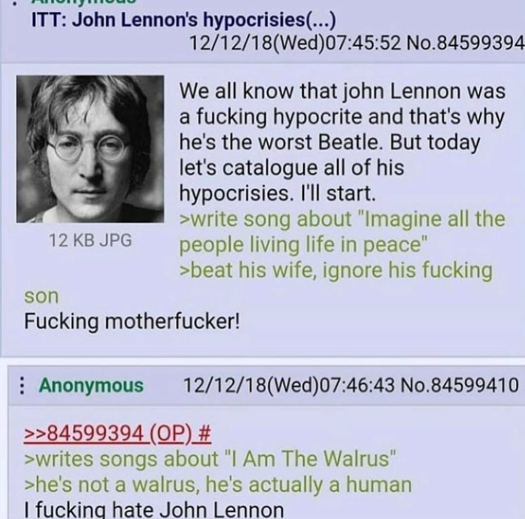 John Lennon you fucking jew - meme