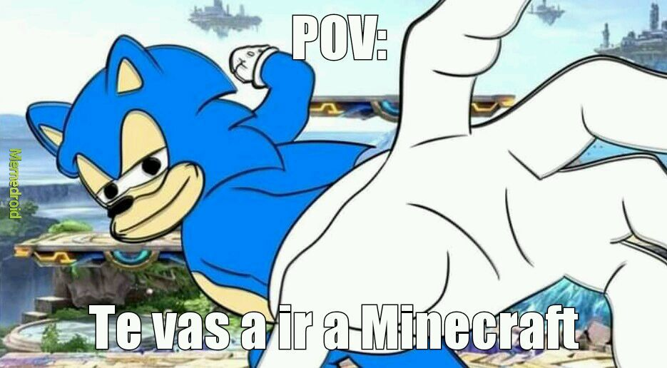Nooooo Sonic, como pudiste enviar a Mario a Maincraf - meme