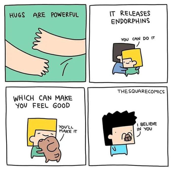 Hugs are important. - meme