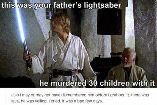 And now Luke, you must kill 30 more children - meme