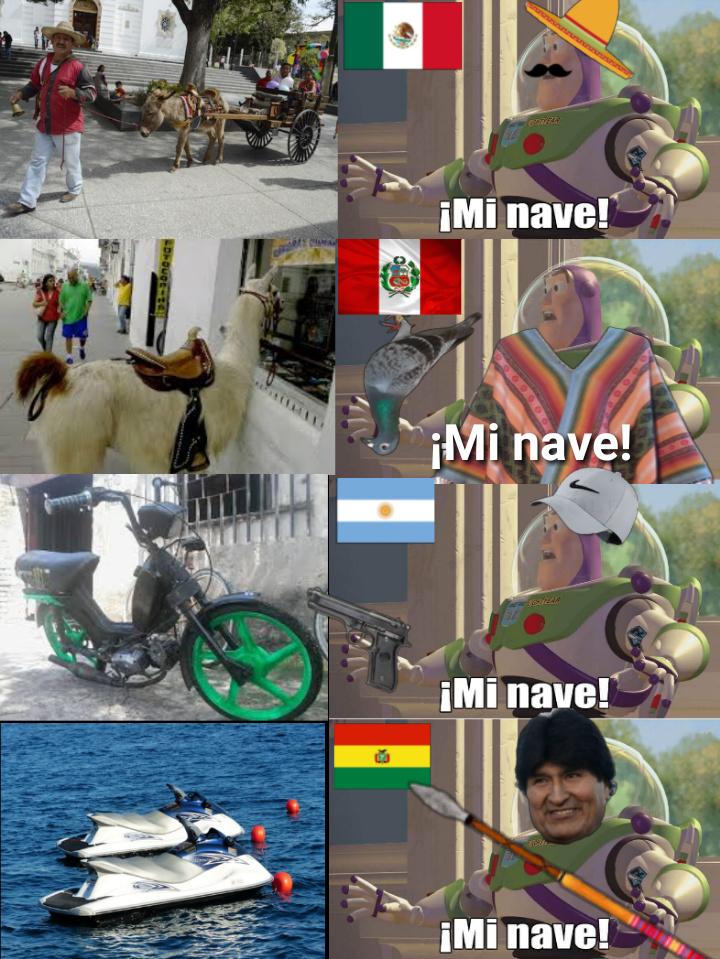 Medios de trasporte en diferentes países - meme