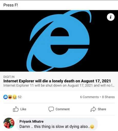 IE: My time has come - meme