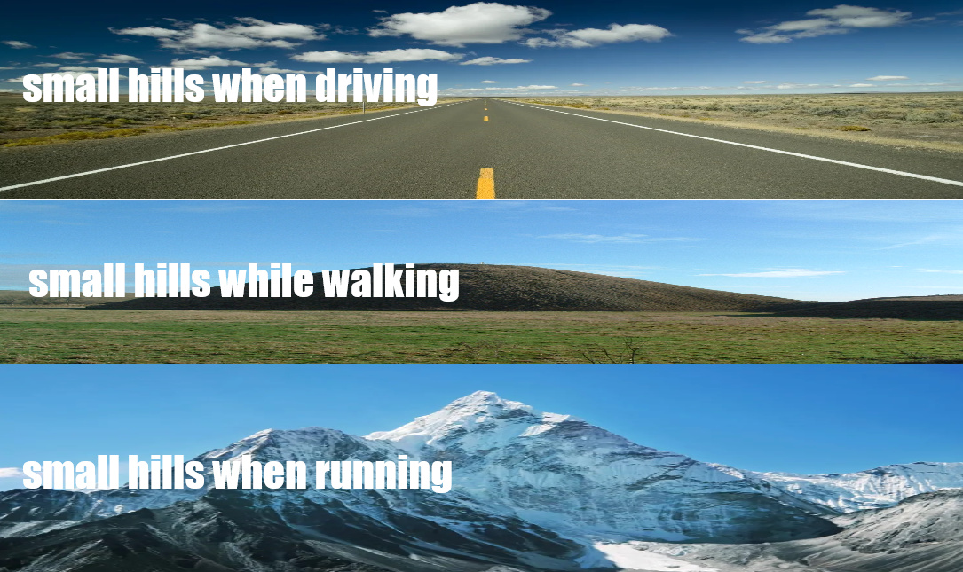 Running with hills - meme
