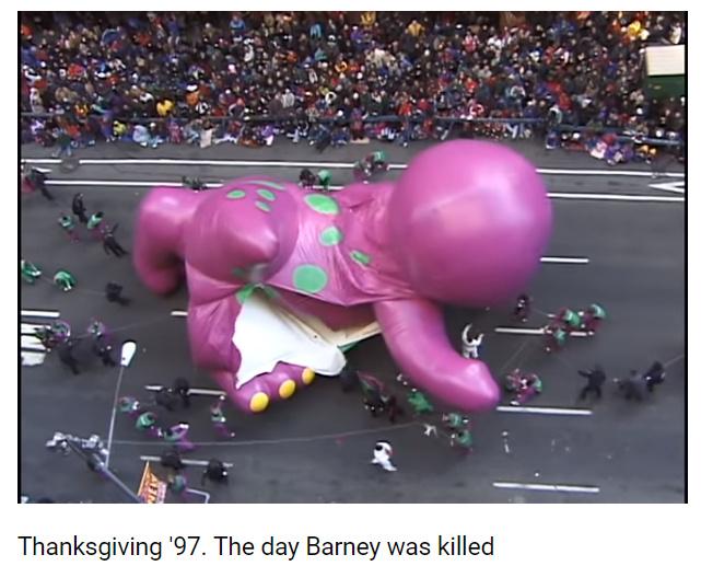 o que tinha no programa do Barney que ele usava e abusava - meme