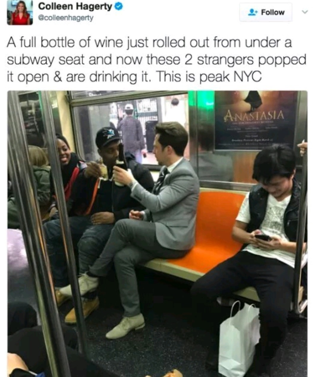 Who would leave a perfectly good bottle of wine in the train - meme