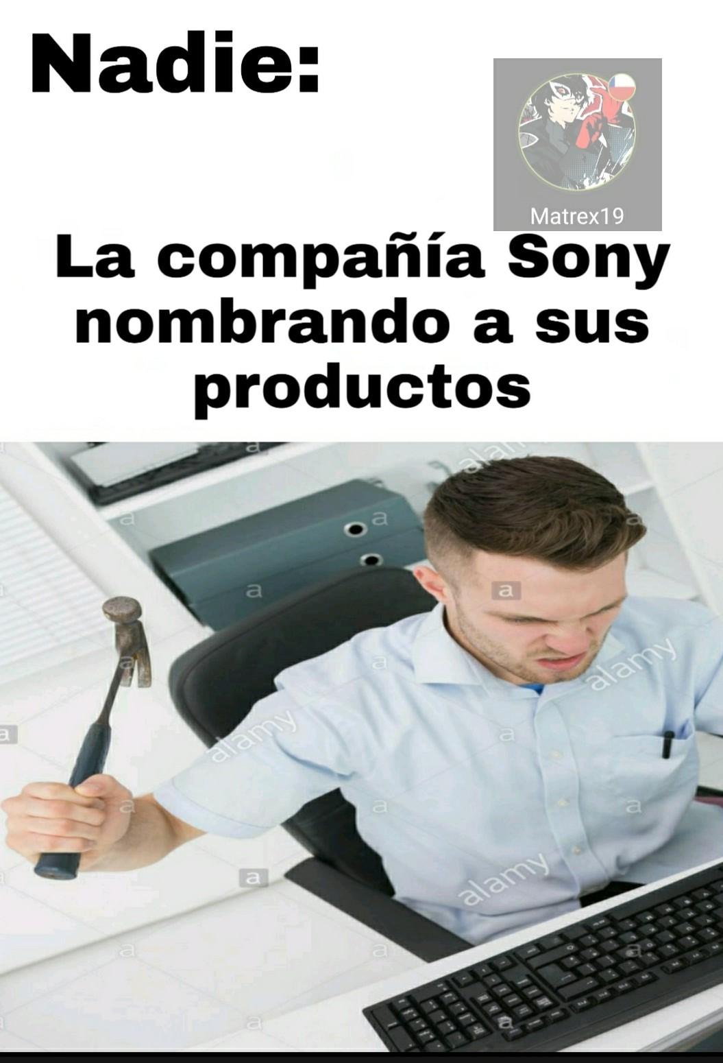 La compañía Sony, le pone nombre raros, por ejemplo un audífono Sony que uso, se llama MDR-XB550.. - meme