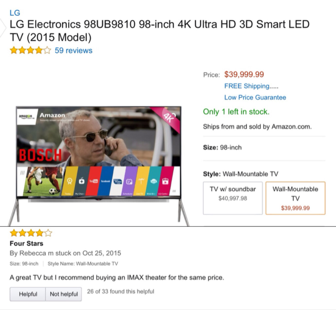 So I was shopping on Amazon for a tv and saw that review....not sure if this will pass,I thought it was funny - meme