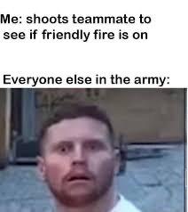 """Friendly fire"" - meme"