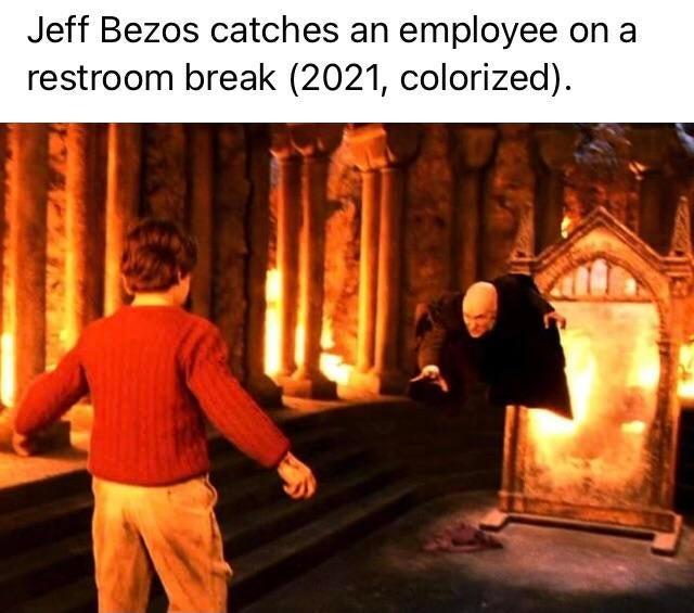 Jeff Bezos catches an employee on a restroom break - meme