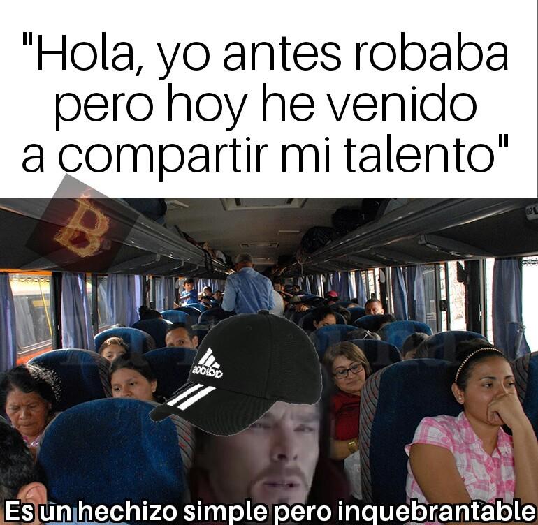 En el bus siempre - meme