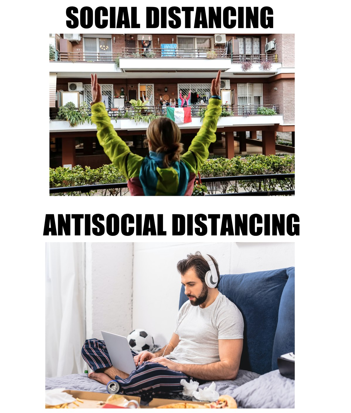 Social distancing: two types of people - meme