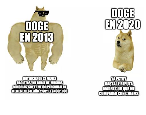 para los que no saben porque el doge del 2013 tiene lentes; es porque en el 2013 se ocupaba mucho eso - meme