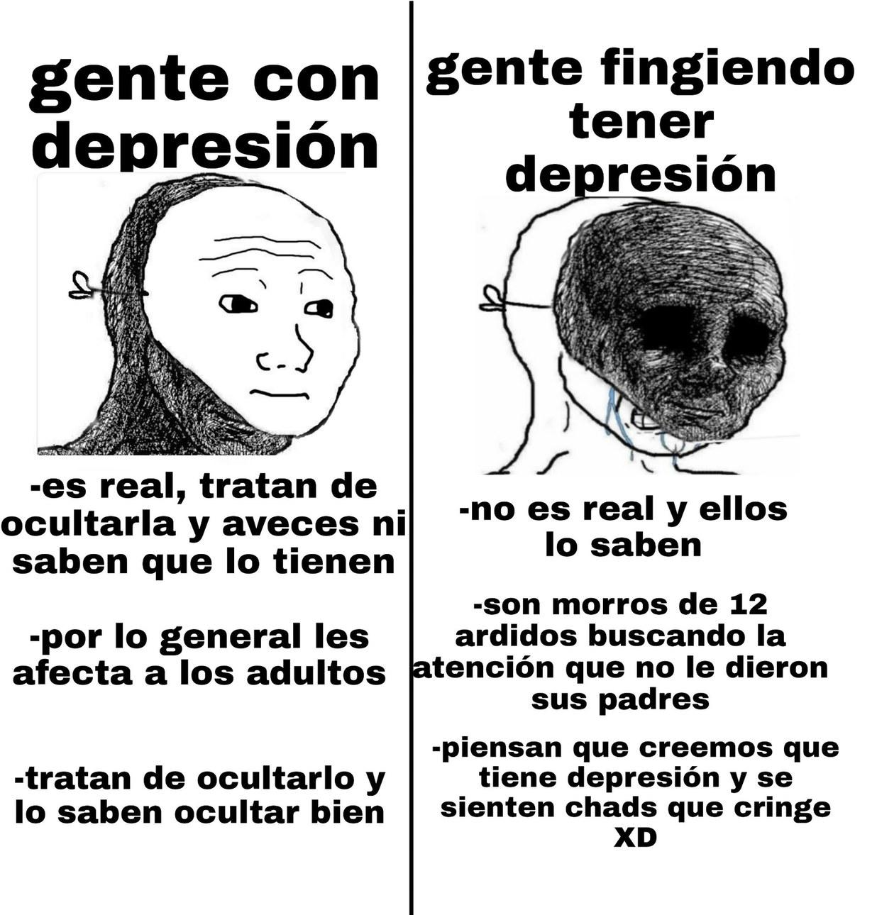 """Denme atención tengo depresión :chad:"" - meme"