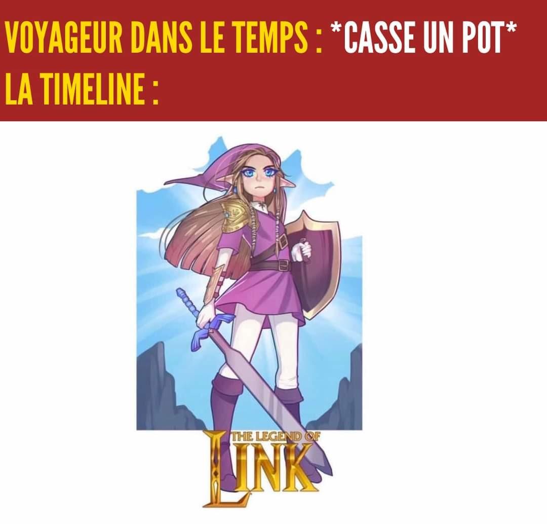 Zelda l'aventurier vert avec l'épée - meme