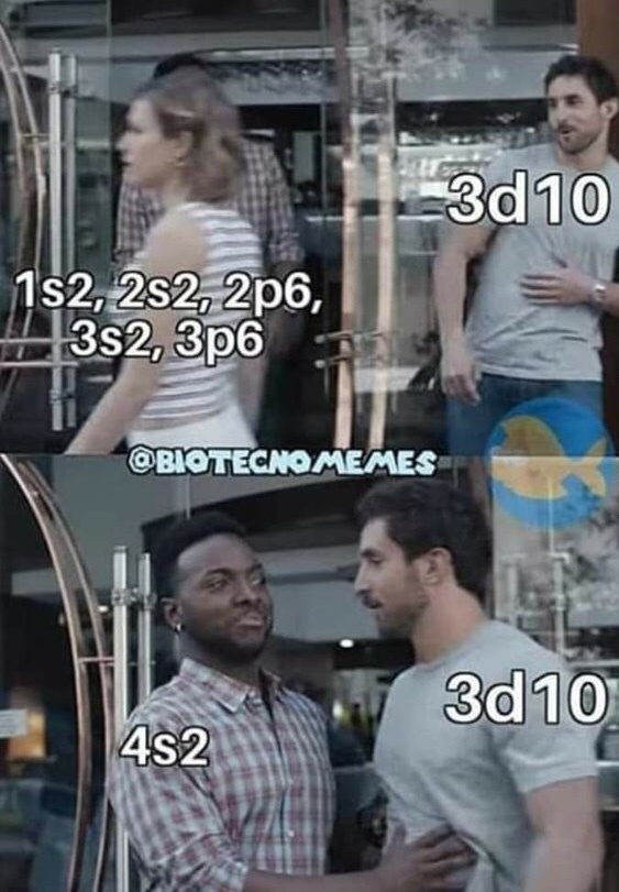 Só em química 4 vem antes do 3 - meme