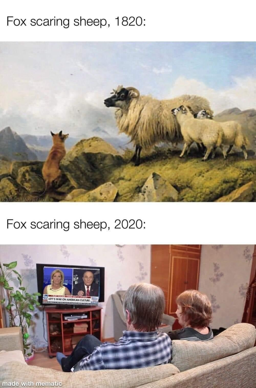 fox scaring sheep - meme