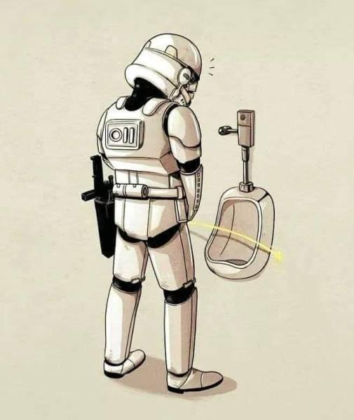 Stand a little closer, that's not a blaster you're firing. - meme