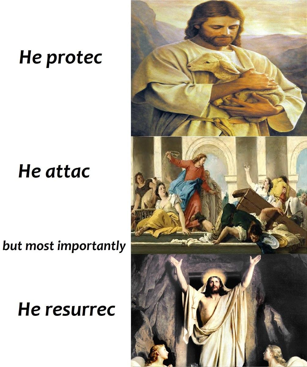 Praise for he has risen. - meme