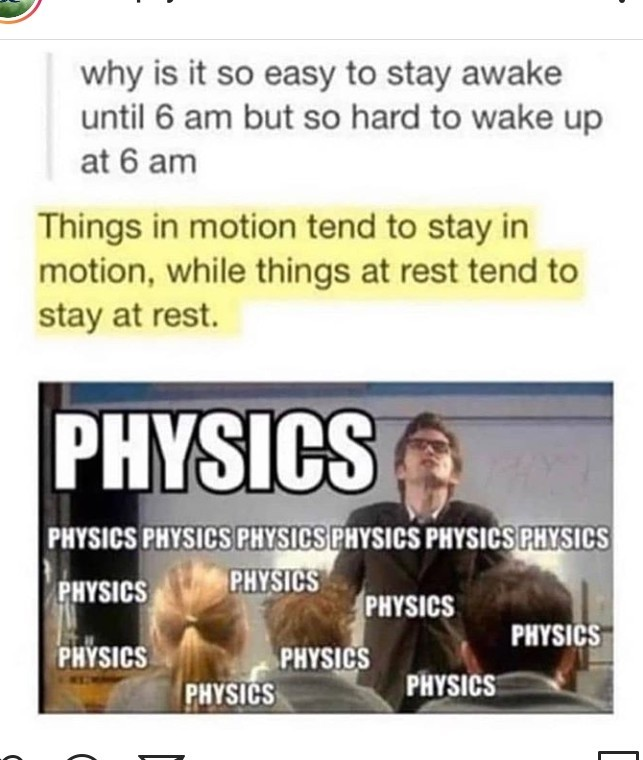 Newton's physics for morning plea. - meme