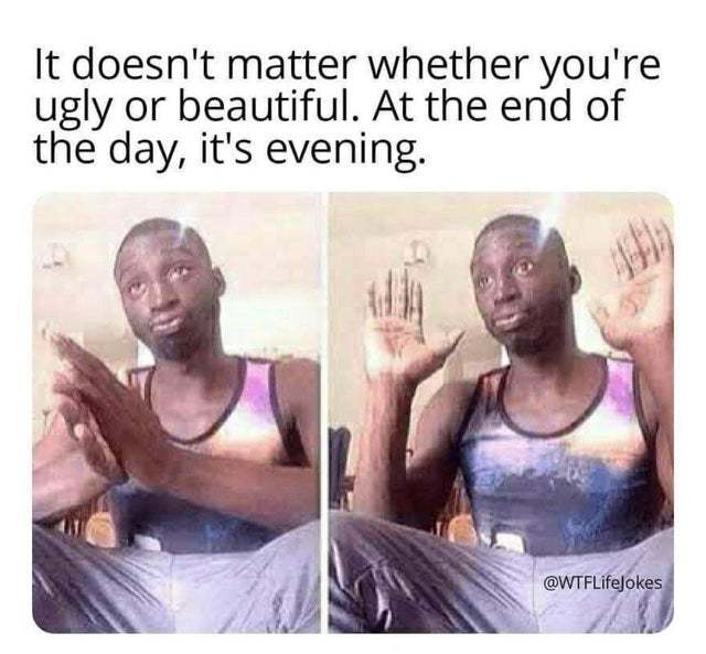 It doesn't matter wether you're ugly or beautiful - meme