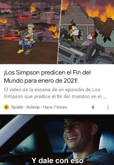 Cuando acabara las predicciones de los simpsons? - meme