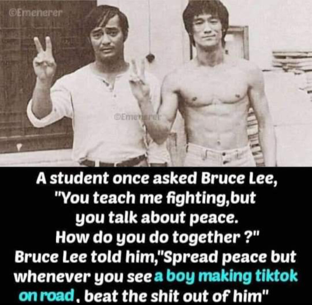 Wise words by Bruce Lee - meme