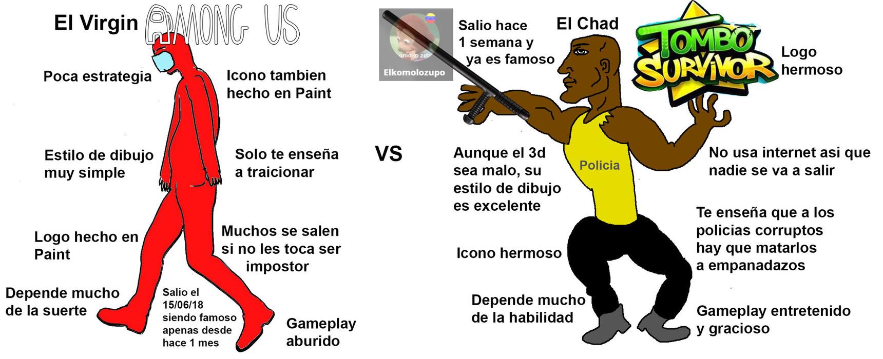 El Virgin Among Us VS El Chad Tombo Survivor - meme