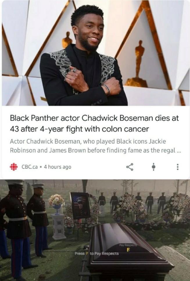 R.I.P. Chadwick Boseman (1976 - 2020) - meme
