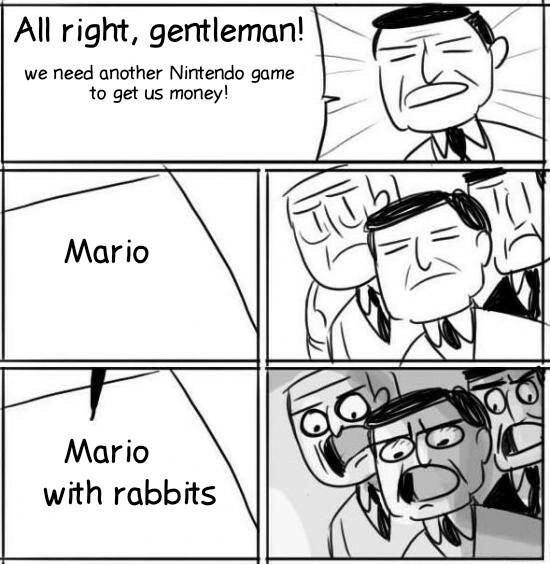 Mario with rabbits - meme