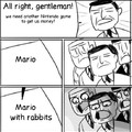 Mario with rabbits