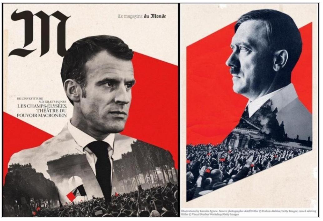 Tou né ke trompri, Macron est un jeune neo-nazi qui chevauche des requins volants - meme