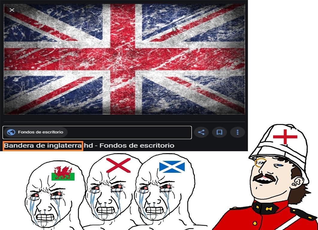 Mucha gente confunde los paises que conforman UK con solamente Inglaterra - meme