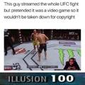 Guy pretends UFC fight is a video game so it is not taken down for copyright