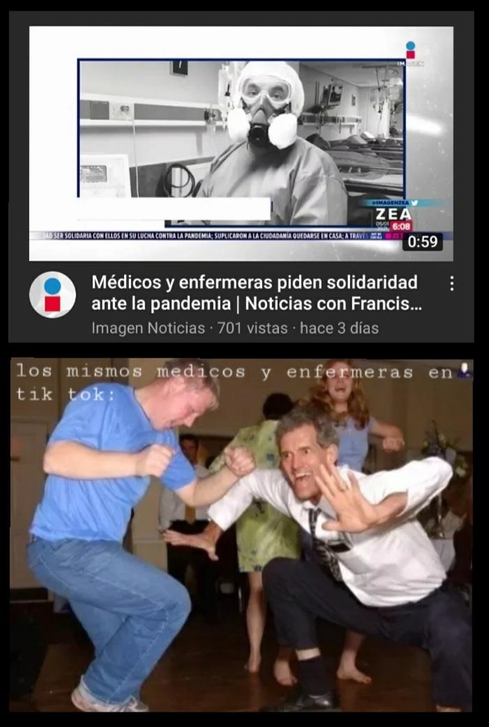 Medicos: hay que pena la gente; also medicos en tiktok - meme